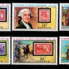 Sellos: LIBERIA 673/78** - AÑO 1975 - BICENTENARIO DE LA INDEPENDENCIA DE ESTADOS UNIDOS. Lote 217717128