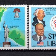 Sellos: LIBERIA 726/27** - AÑO 1976 - BICENTENARIO DE LA INDEPENDENCIA DE ESTADOS UNIDOS. Lote 217717270