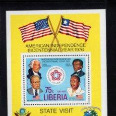 Sellos: LIBERIA HB 82** - AÑO 1975 - BICENTENARIO DE LA INDEPENDENCIA DE ESTADOS UNIDOS. Lote 219315416