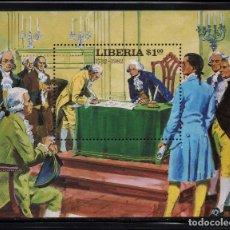 Sellos: LIBERIA HB 99** - AÑO 1981 - 250º ANIVERSARIO DEL NACIMIENTO DE GEORGE WASHINGTON. Lote 219315838