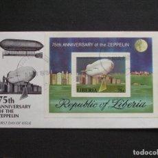Sellos: LIBERIA - SOBRE CONMEMORATIVO DEL 75 ANIVERSARIO DEL DIRIGIBLE ZEPPELIN. Lote 222188720