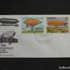 Sellos: LIBERIA - SOBRE CONMEMORATIVO DEL 75 ANIVERSARIO DEL DIRIGIBLE ZEPPELIN. Lote 222188785