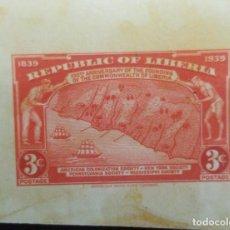 Sellos: O) LIBERIA 1939, PRUEBA DE DADO, 100 ANIVERSARIO DE LA FUNDACIÓN DEL COMMONWEALTH DE LIBERIA, 3C ROJ. Lote 224135225