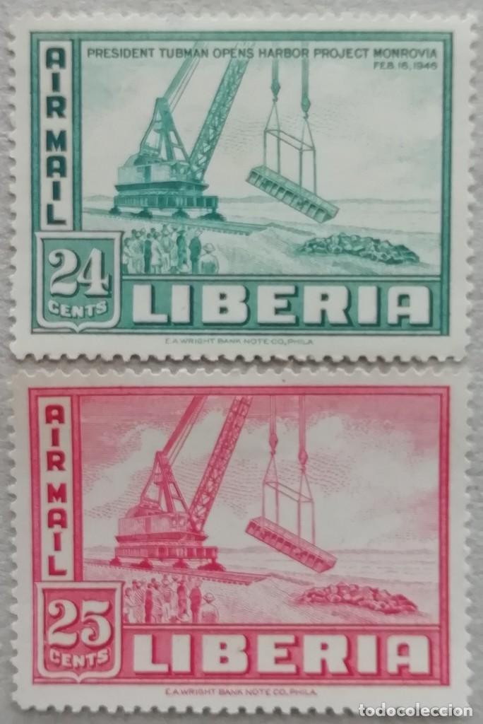 1947. LIBERIA. A48 / A49. OPERACIONES PORTUARIAS EN MONROVIA. SERIE COMPLETA. NUEVO. (Sellos - Extranjero - África - Liberia)