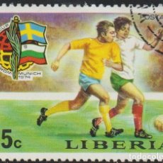 Sellos: LIBERIA 1974 SCOTT 680 SELLO º DEPORTES FUTBOL FOOTBALL WORLD CUP GERMANY SUECIA-BULGARIA MICHEL 926. Lote 235708175