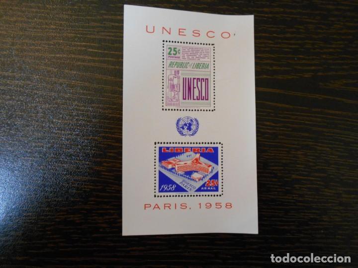 LIBERIA-HOJA BLOQUE-2 SELLOS-UNESCO-PARIS 1958-RARA (Sellos - Extranjero - África - Liberia)