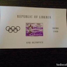Sellos: LIBERIA-HOJA BLOQUE-1 SELLO-JUEGOS OLÍMPICOS ROMA-1960-RARA. Lote 237884995