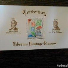 Sellos: LIBERIA-HOJA BLOQUE-1 SELLO-CORREO AÉREO-CENTENARIO SELLO-1960-RARA. Lote 237885375