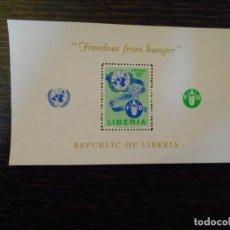 Sellos: LIBERIA-HOJA BLOQUE-1 SELLO-CORREO AÉREO-FAO. Lote 237889535