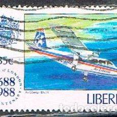 Sellos: LIBERIA IVERT Nº 1111, 3º CENTENARIO DE LA COMPAÑIA DE SEGUROS LLOYD, AVION DE AIR LIBERIA, USADO. Lote 246744895