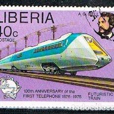 Timbres: LIBERIA IVERT Nº 716, CENTENARIO DE LA PRIMERA UNION TELEFONICA, AVION, USADO. Lote 246745940
