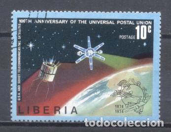 LIBERIA, CENT. DE UNIÓN POSTAL UNIVERSAL, SATÉLITES, 1974, PREOBLITERADO (Sellos - Extranjero - África - Liberia)