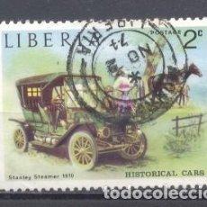 Sellos: LIBERIA, 1973, COCHES ANTIGUOS, STANLEY STEAMER, PREOBLITERADO. Lote 249304870