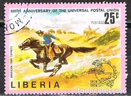 LIBERIA IVERT Nº 648, CENTENARIO DE LA UNIÓN POSTAL UNIVERSAL. UPU, EL CORREO EN EL FAST WEST, USADO (Sellos - Extranjero - África - Liberia)
