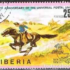 Sellos: LIBERIA IVERT Nº 648, CENTENARIO DE LA UNIÓN POSTAL UNIVERSAL. UPU, EL CORREO EN EL FAST WEST, USADO. Lote 251010450