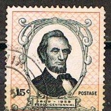 Sellos: LIBERIA IVERT Nº 364, 150 ANIVERSARIO DEL NACIMIENTO DE ABRAHAM LINCOLN, USADO. Lote 251018745