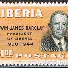 Sellos: LIBERIA IVERT Nº 305 (AÑO 1949), EDWIN JAMES BARCLAY, EX-PRESIDENTE, NUEVO ***. Lote 251019815