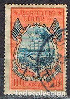 LIBERIA IVERT Nº 179 (AÑO 1920), BARCO EN ESCUDO CON BANDERAS, USADO (Sellos - Extranjero - África - Liberia)