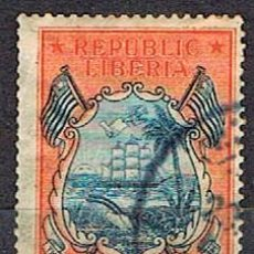 Sellos: LIBERIA IVERT Nº 179 (AÑO 1920), BARCO EN ESCUDO CON BANDERAS, USADO. Lote 251021115