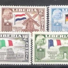 Sellos: LIBERIA Nº 346/348* + A 111/114* VISITAS EUROPEAS DEL PRESIDENTE TUBMAN. BANDERAS. SERIE COMPLETA. Lote 252418440