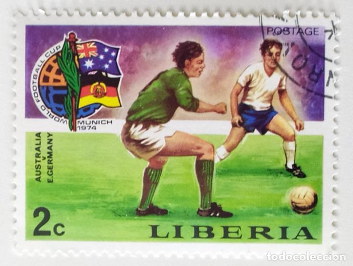 SELLO DE LIBERIA 2 C - 1974 - MUNDIAL MUNICH - USADO SIN SEÑAL DE FIJASELLOS (Sellos - Extranjero - África - Liberia)