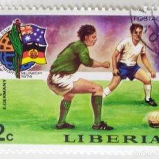 Sellos: SELLO DE LIBERIA 2 C - 1974 - MUNDIAL MUNICH - USADO SIN SEÑAL DE FIJASELLOS. Lote 252516785