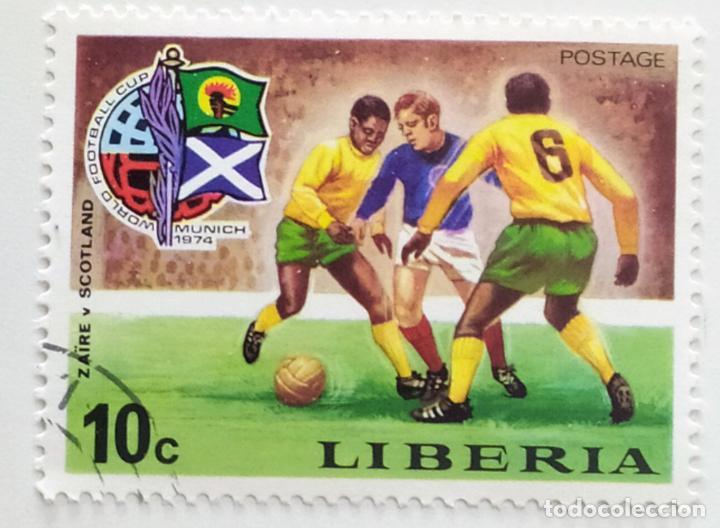 SELLO DE LIBERIA 10 C - 1974 - MUNDIAL MUNICH - USADO SIN SEÑAL DE FIJASELLOS (Sellos - Extranjero - África - Liberia)