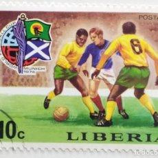 Sellos: SELLO DE LIBERIA 10 C - 1974 - MUNDIAL MUNICH - USADO SIN SEÑAL DE FIJASELLOS. Lote 252516875