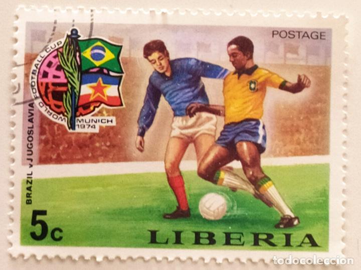 SELLO DE LIBERIA 5 C - 1974 - MUNDIAL MUNICH - USADO SIN SEÑAL DE FIJASELLOS (Sellos - Extranjero - África - Liberia)