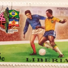 Sellos: SELLO DE LIBERIA 5 C - 1974 - MUNDIAL MUNICH - USADO SIN SEÑAL DE FIJASELLOS. Lote 252516955