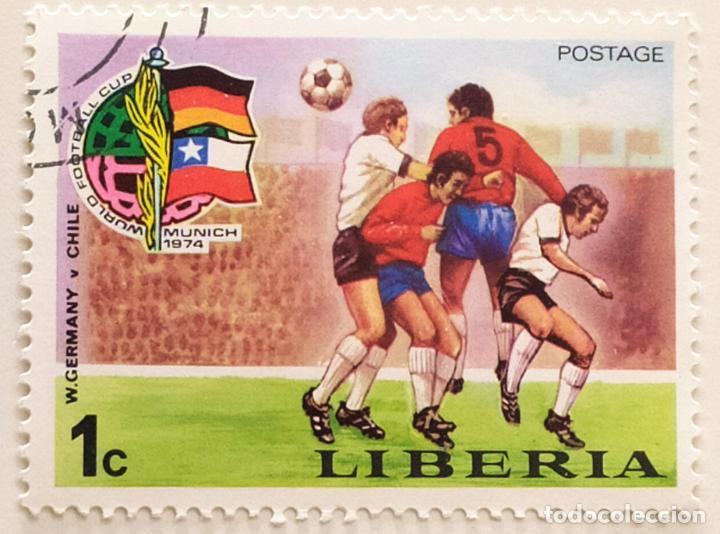 SELLO DE LIBERIA 1 C - 1974 - MUNDIAL MUNICH - USADO SIN SEÑAL DE FIJASELLOS (Sellos - Extranjero - África - Liberia)