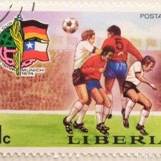 Sellos: SELLO DE LIBERIA 1 C - 1974 - MUNDIAL MUNICH - USADO SIN SEÑAL DE FIJASELLOS. Lote 252517035