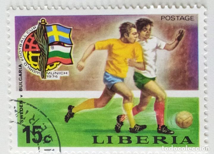SELLO DE LIBERIA 15 C - 1974 - MUNDIAL MUNICH - USADO SIN SEÑAL DE FIJASELLOS (Sellos - Extranjero - África - Liberia)
