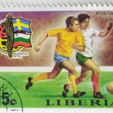 Sellos: SELLO DE LIBERIA 15 C - 1974 - MUNDIAL MUNICH - USADO SIN SEÑAL DE FIJASELLOS. Lote 252517100