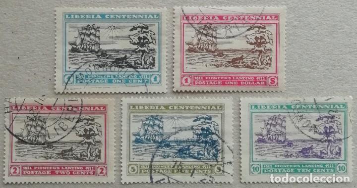 1923. LIBERIA. 194 / 198. BARCOS. CENTENARIO DE LA FUNDACIÓN DE LIBERIA. SERIE COMPLETA. USADO. (Sellos - Extranjero - África - Liberia)