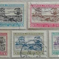 Sellos: 1923. LIBERIA. 194 / 198. BARCOS. CENTENARIO DE LA FUNDACIÓN DE LIBERIA. SERIE COMPLETA. USADO.. Lote 254127730