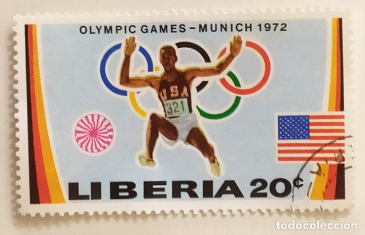 SELLO DE LIBERIA 20 C - 1972 - OLIMPIADA MUNICH - USADO SIN SEÑAL DE FIJASELLOS (Sellos - Extranjero - África - Liberia)