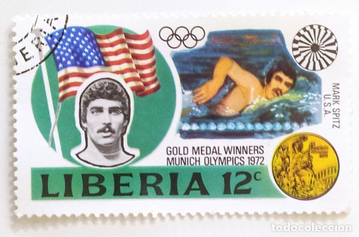 SELLO DE LIBERIA 12 C - 1973 - MEDALLISTAS OLIMPICOS - USADO SIN SEÑAL DE FIJASELLOS (Sellos - Extranjero - África - Liberia)
