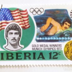 Sellos: SELLO DE LIBERIA 12 C - 1973 - MEDALLISTAS OLIMPICOS - USADO SIN SEÑAL DE FIJASELLOS. Lote 254155085
