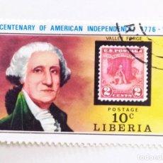 Sellos: SELLO DE LIBERIA 10 C - 1975 - WASHINGTON - USADO SIN SEÑAL DE FIJASELLOS. Lote 260338055