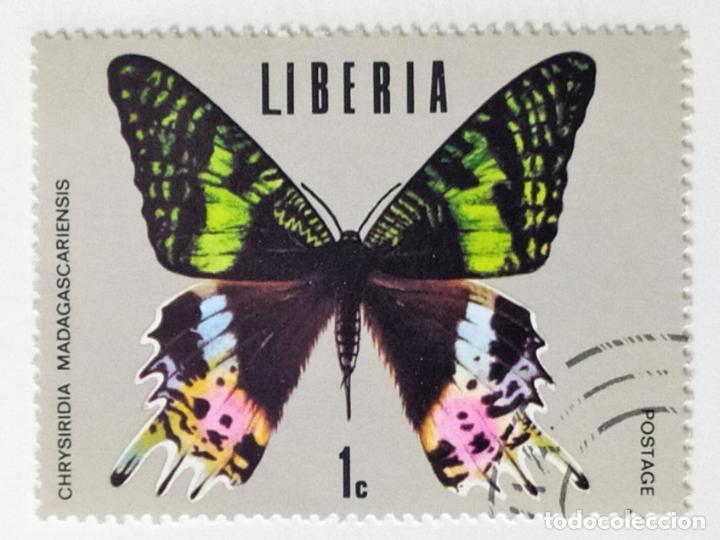 SELLO DE LIBERIA 1 C - 1974 - MARIPOSAS - USADO SIN SEÑAL DE FIJASELLOS (Sellos - Extranjero - África - Liberia)