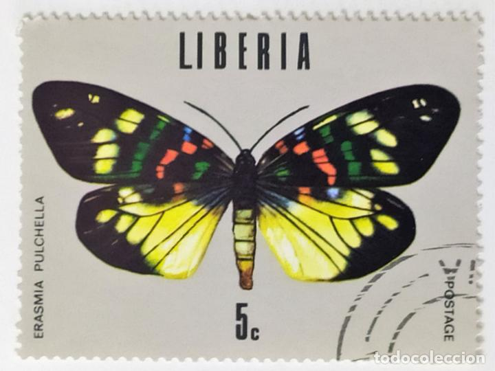 SELLO DE LIBERIA 5 C - 1974 - MARIPOSAS - USADO SIN SEÑAL DE FIJASELLOS (Sellos - Extranjero - África - Liberia)