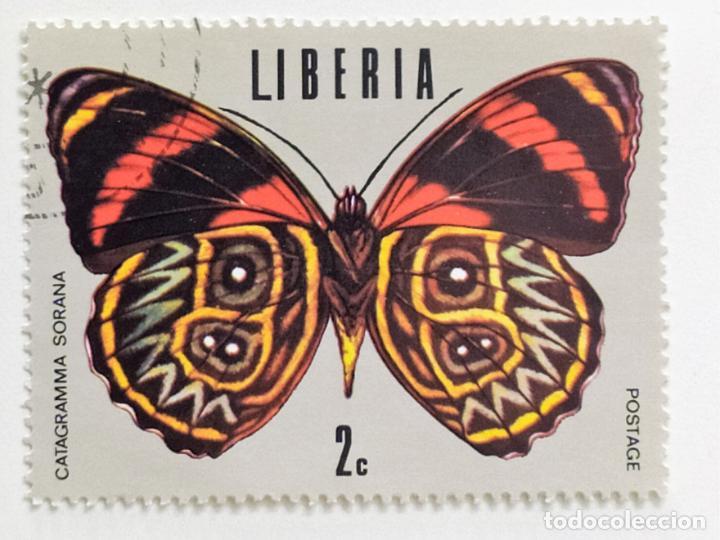 SELLO DE LIBERIA 2 C - 1974 - MARIPOSAS - USADO SIN SEÑAL DE FIJASELLOS (Sellos - Extranjero - África - Liberia)