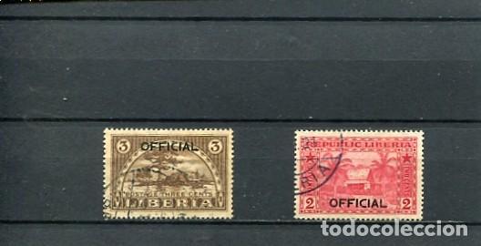 SELLOS ANTIGUOS DE LIBERIA SOBRECARGA OFICIAL NUMERO 105 106 (Sellos - Extranjero - África - Liberia)