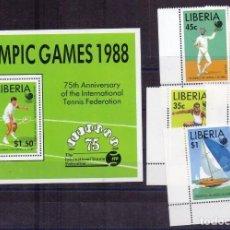 Sellos: LIBERIA 1988 SPORT OLYMPIC GAMES SEOUL SET+PERF. SHEET MI.1424-28+B119 MNH E.187. Lote 273013433