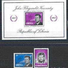 Sellos: LIBERIA N°392 + PA 146 + BLOC 29* (MH) 1964 - JOHN F. KENNEDY. Lote 287653373