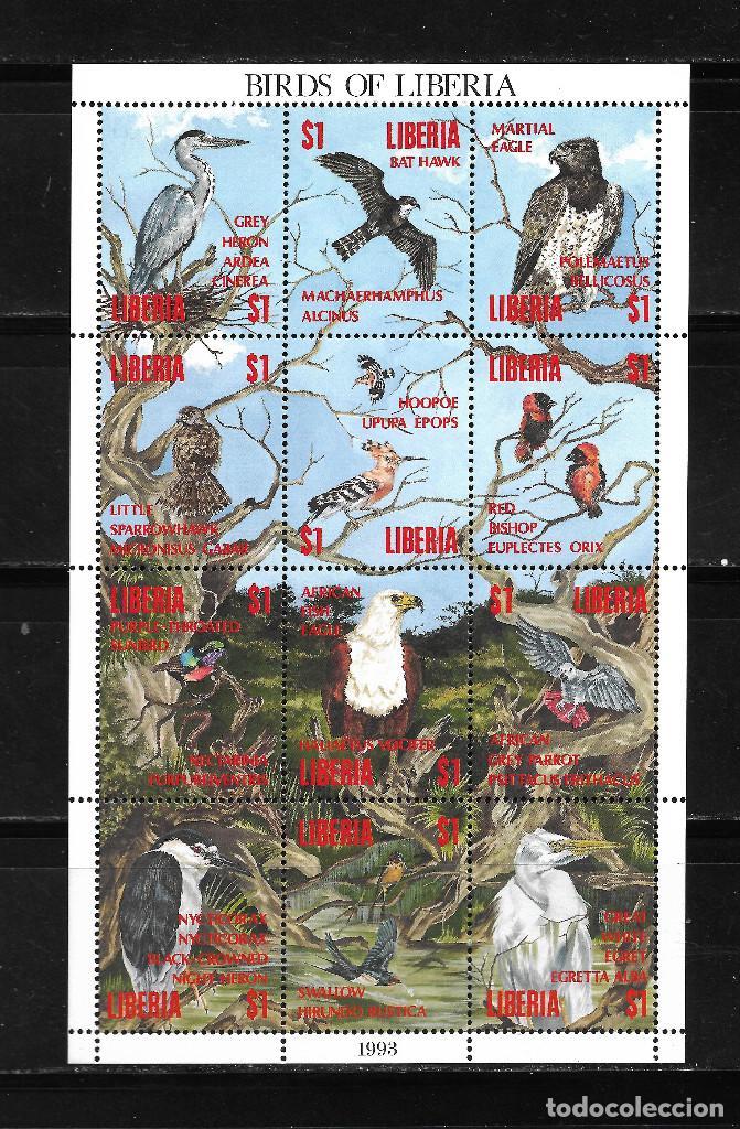 LIBERIA 1993, HOJA BLOQUE IVERT 1243/54 FAUNA AVES. MNH. (Sellos - Extranjero - África - Liberia)