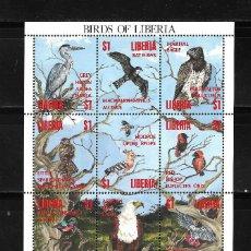 Sellos: LIBERIA 1993, HOJA BLOQUE IVERT 1243/54 FAUNA AVES. MNH.. Lote 287674003