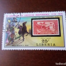 Sellos: LIBERIA, 1975, BICENTENARIO INDEPENDENCIA DE ESTADOS UNIDOS,YVERT 677. Lote 293944263