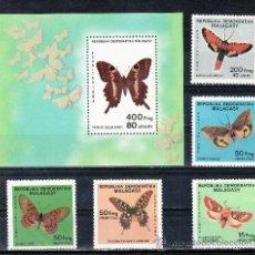Sellos: MADAGASCAR 721/5, HB 27 SIN CHARNELA, FAUNA, MARIPOSAS. Lote 24826766